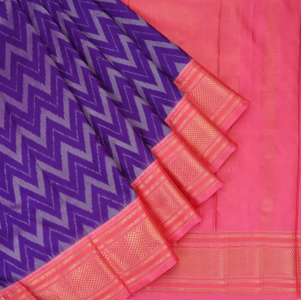 Violet Ikkat Silk Handloom Saree With Stripes | Singhania's