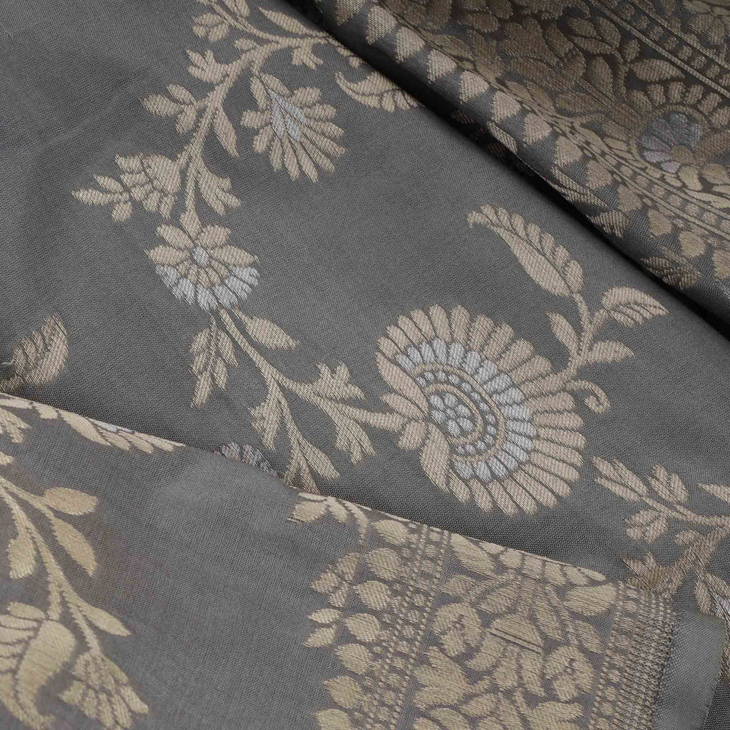 Stone Grey Banarasi Silk Handloom Saree With Floral Jaal