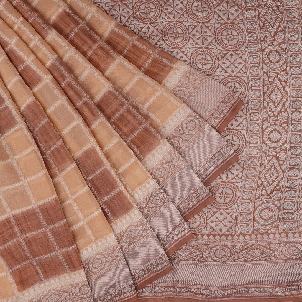 Peach And Brown Banarasi Georgette Saree With Checks