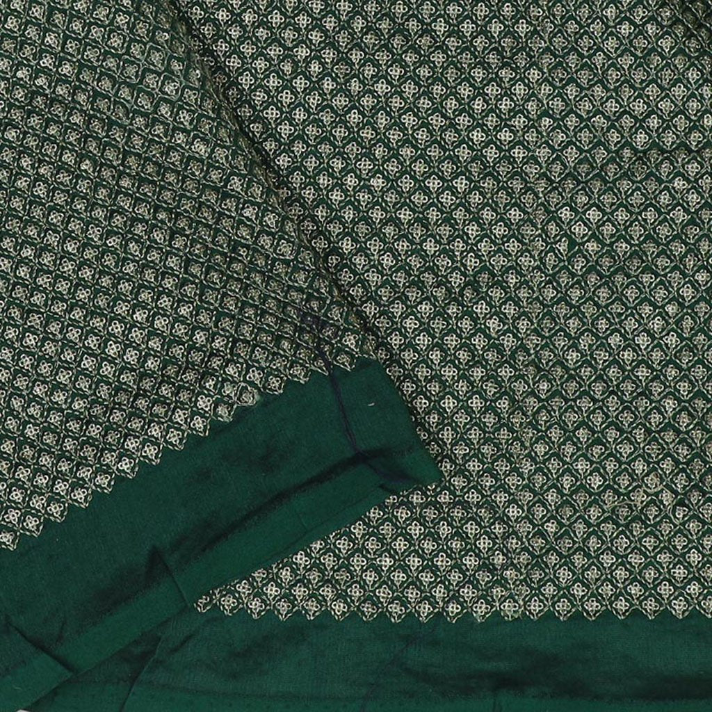 Dual Tone Green Tussar Embroidery Saree With Floral Jaal Border
