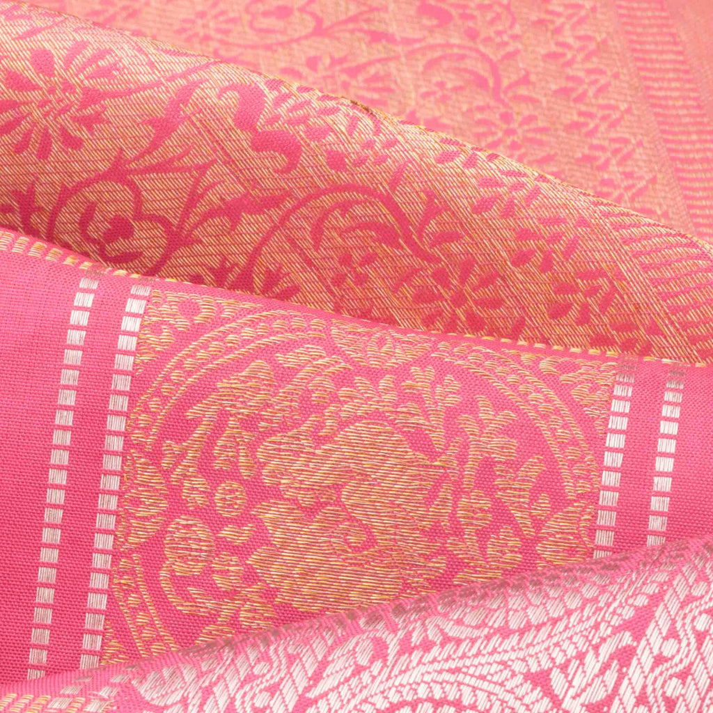 Flamingo Pink Kanchipuram Silk Handloom Saree With Checks-246632 - Singhania's