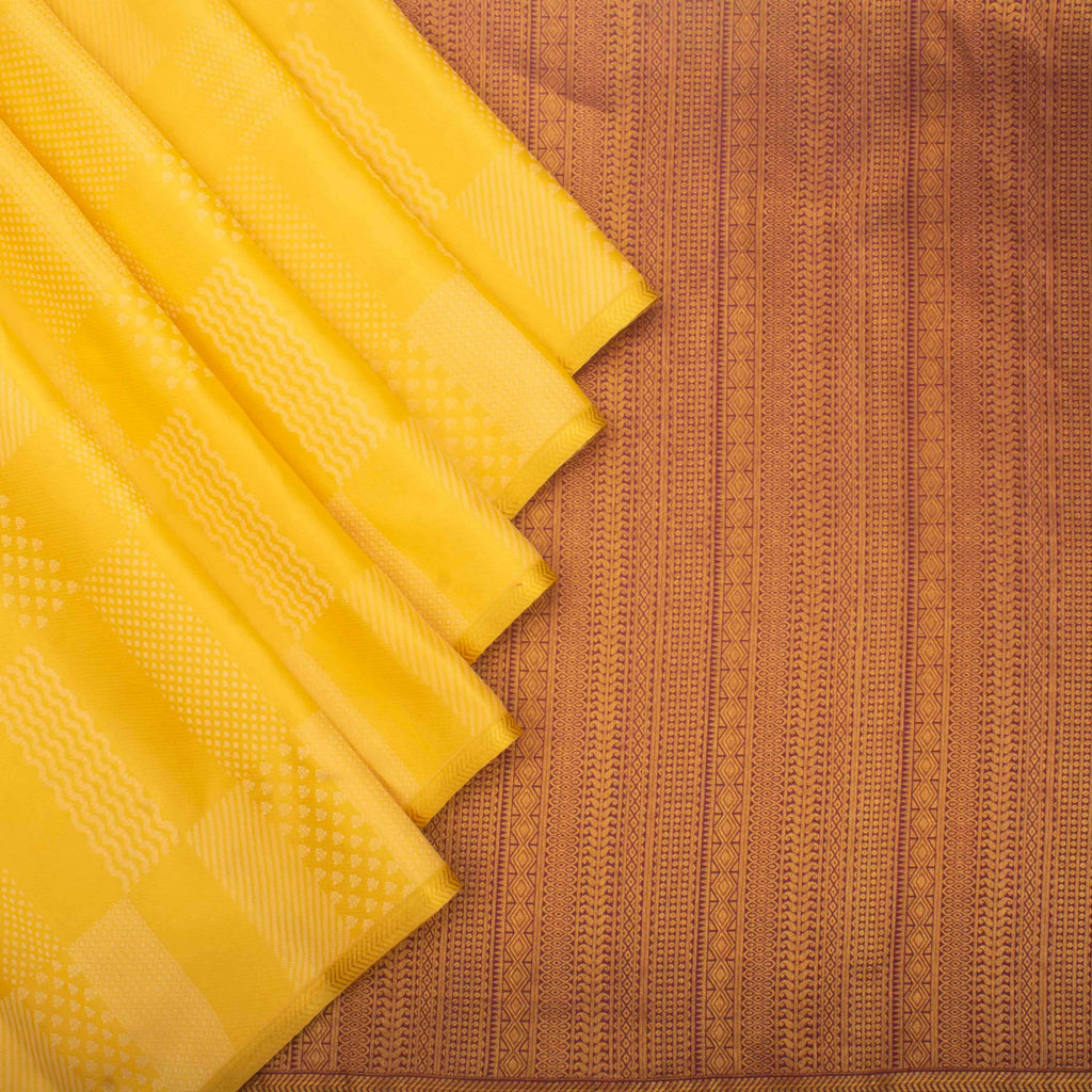 Sunshine Yellow Borderless Kanjivaram Silk Handloom Saree-246860 - Singhania's