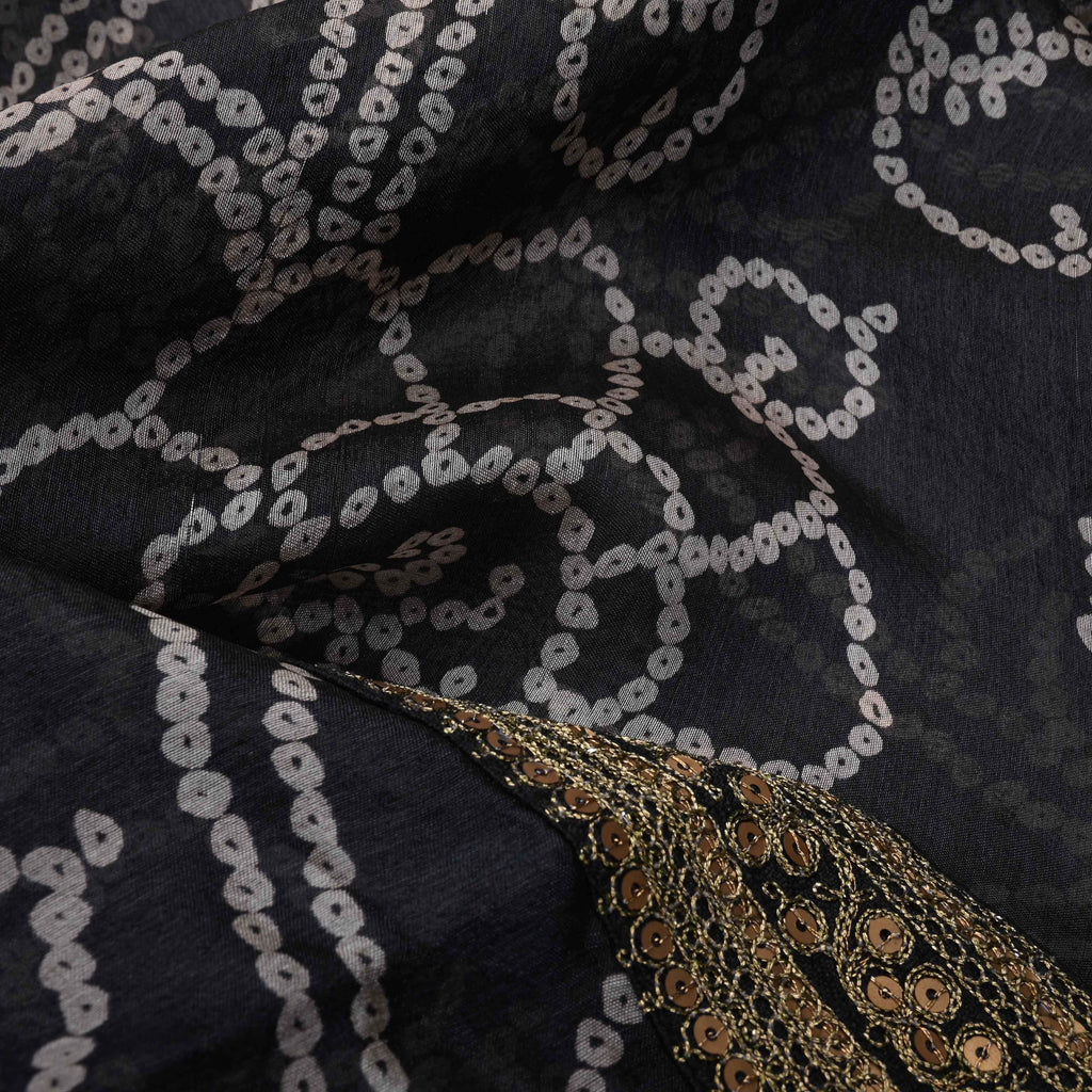 Black bandhini Printed Saree With Floral Jaal-246896 - Singhania's