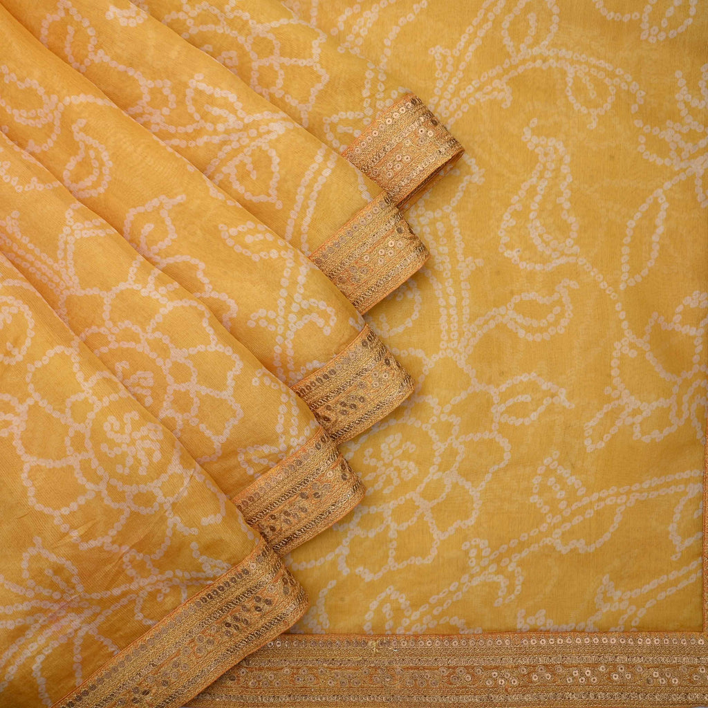 Tuscan Yellow bandhini Printed Saree With Floral Jaal-246897 - Singhania's