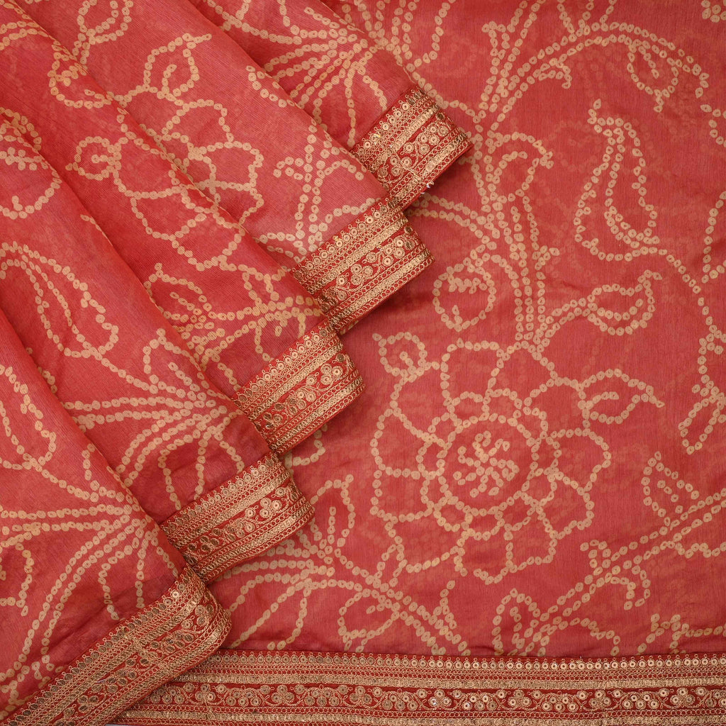 Sunset Red bandhini Printed Saree With Floral Jaal-246901 - Singhania's