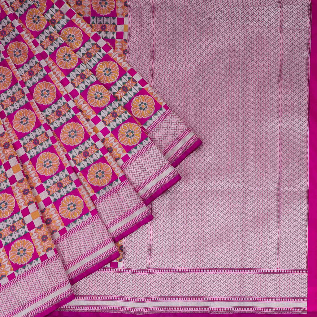 Multicolor Banarasi Silk Handloom Saree With Jaal Design