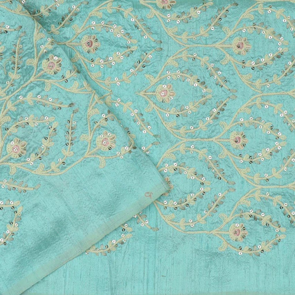 Mint Green Tissue Organza Floral Embroidery Saree