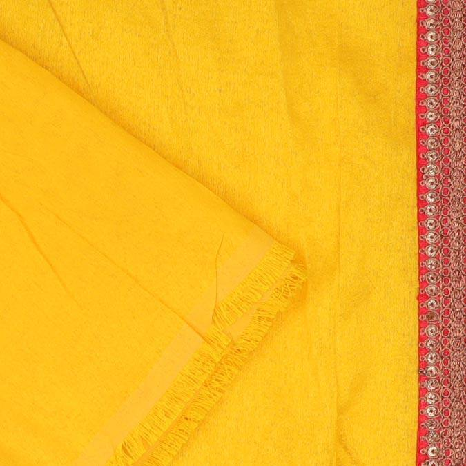 Canary Yellow Chiffon Floral Printed Saree-SALE247599 - Singhania's