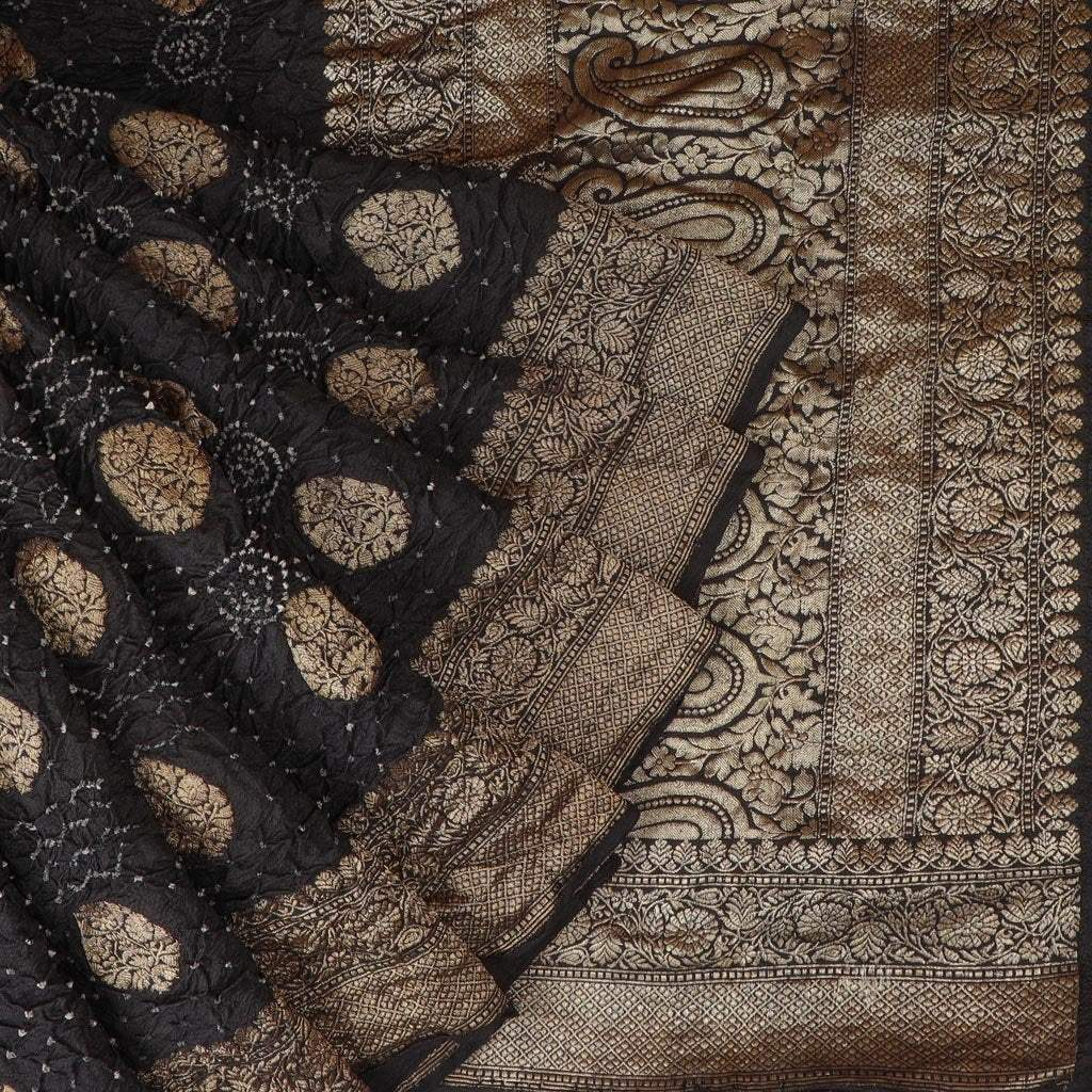 Black Banarasi Bandhani Silk Handloom Saree