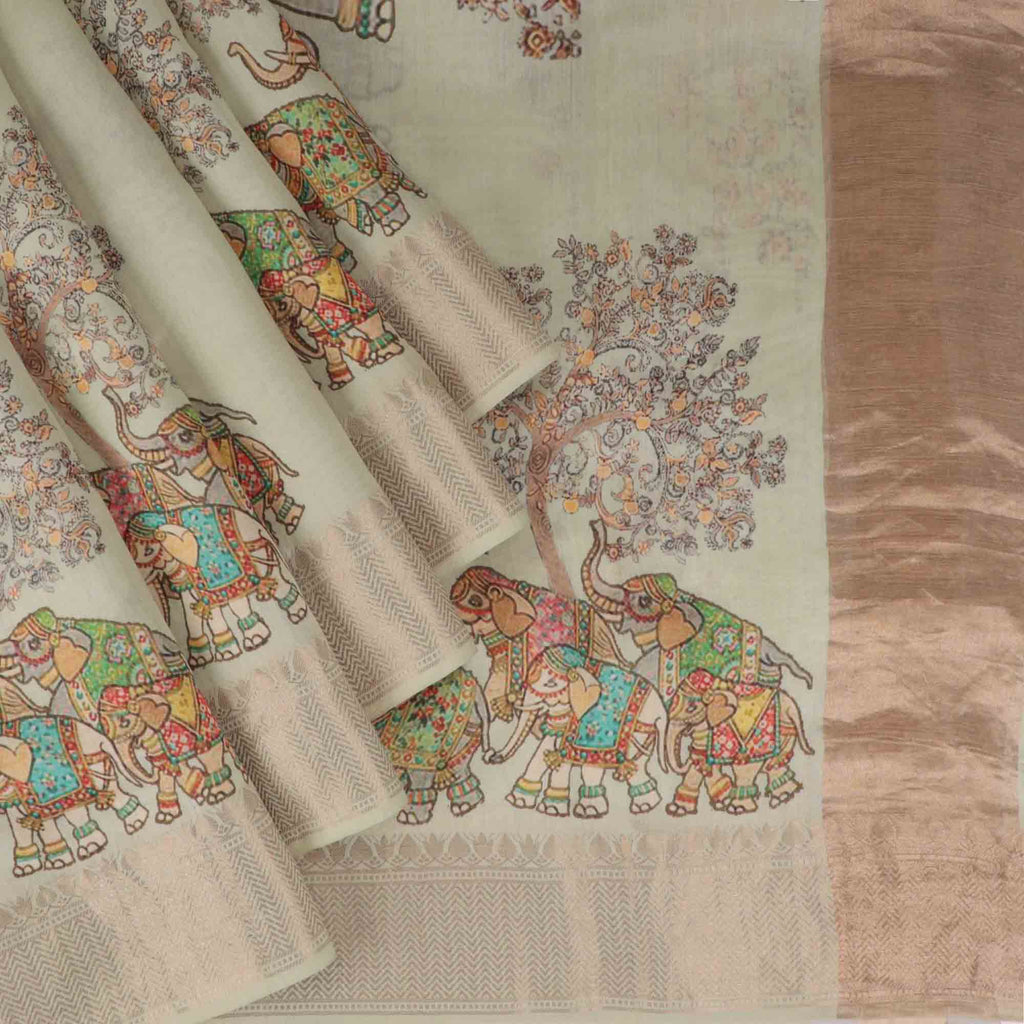 Mint Green Printed Silk Saree With Tree And Elephant Motifs