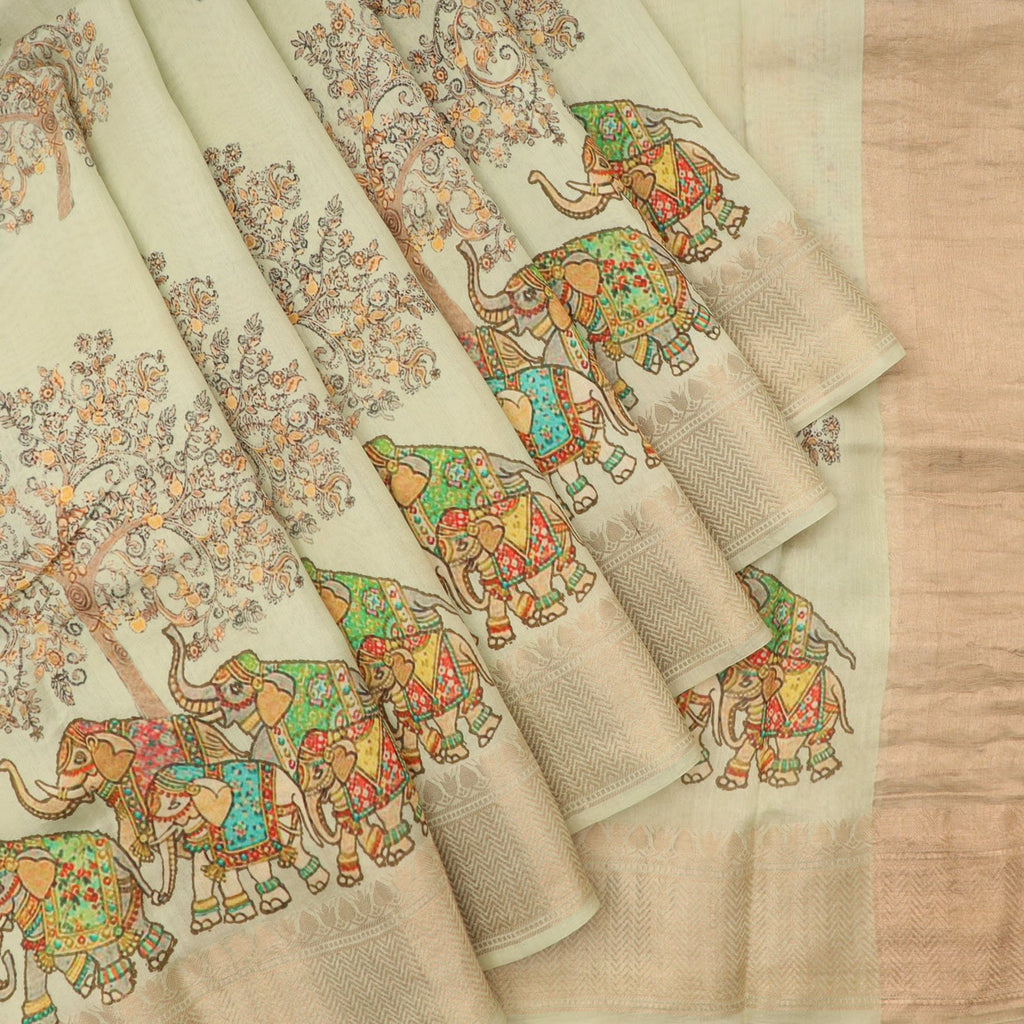 Sea Green Printed Silk Saree With Tree And Elephant Motifs