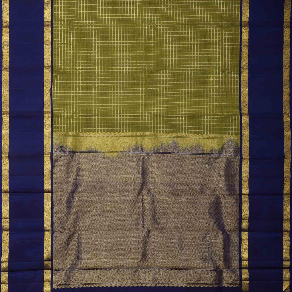 Olive Green Korvai Kanjivaram Silk Handloom Checks Saree-247882 - Singhania's