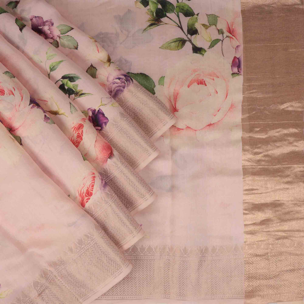 Pale Pink Floral Printed Silk Saree