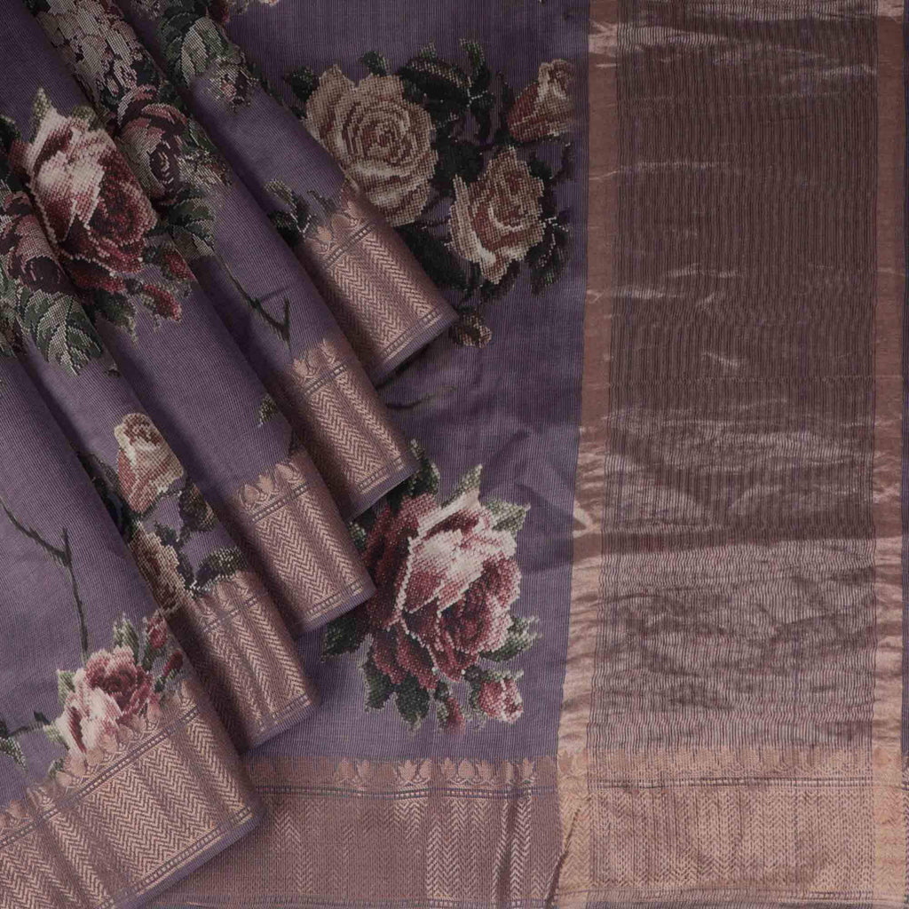 Dark Dusty Lavender Floral Printed Silk Saree