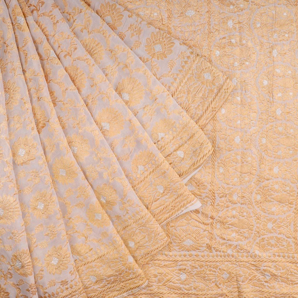 White Banarasi Georgette Saree With Floral Jaal Design