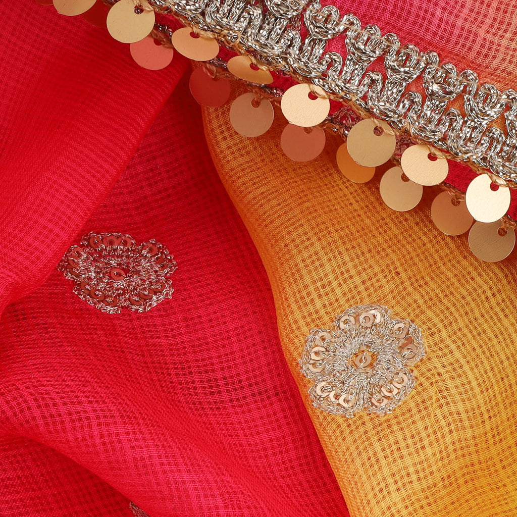 Melon Red-Yellow Kota Silk Floral Embroidery Saree