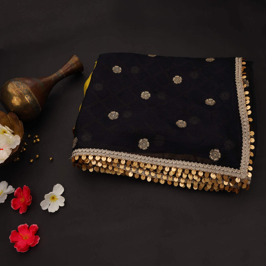Black-Yellow Kota Silk Floral Embroidery Saree
