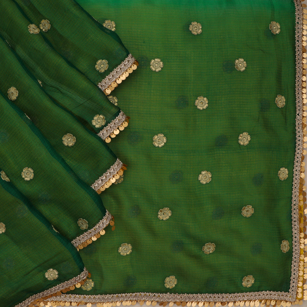 Leaf Green-Yellow Kota Silk Floral Embroidery Saree