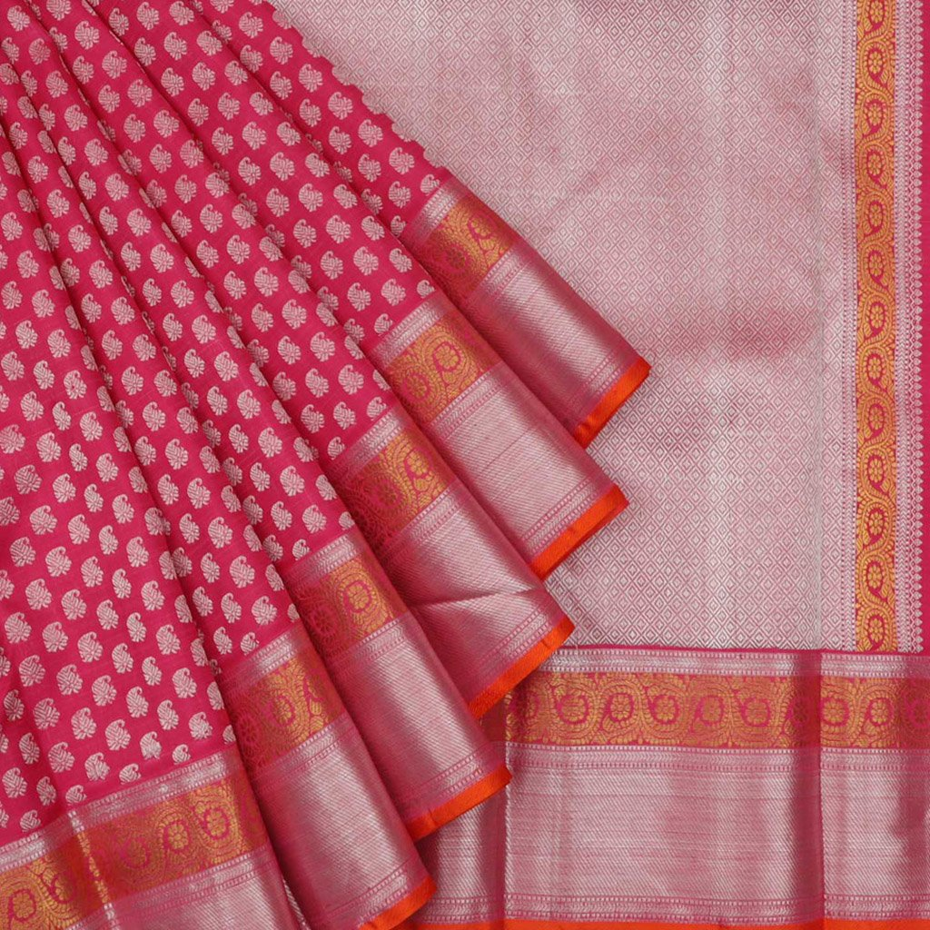 Deep Pink Kanjivaram Silk Handloom Saree With Mangai Buttas