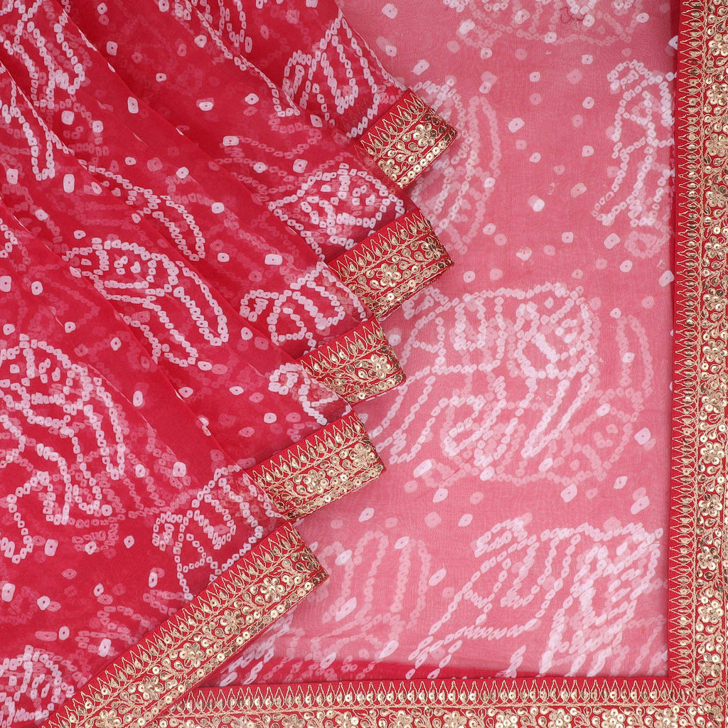 Berry Red Bandhani Printed Organza Saree