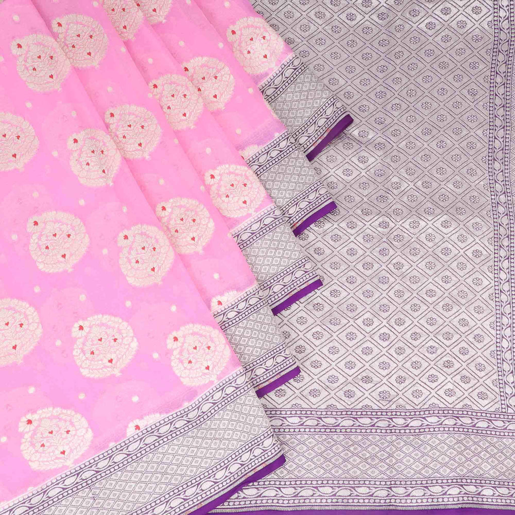 Bubblegum Pink Banarasi Georgette Saree With Floral Motifs | Singhania's