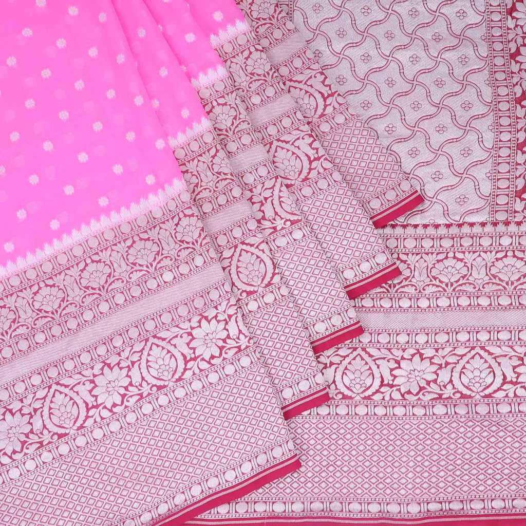 Rogue Pink Banarasi Georgette Saree With Floral Buttas | Singhania's