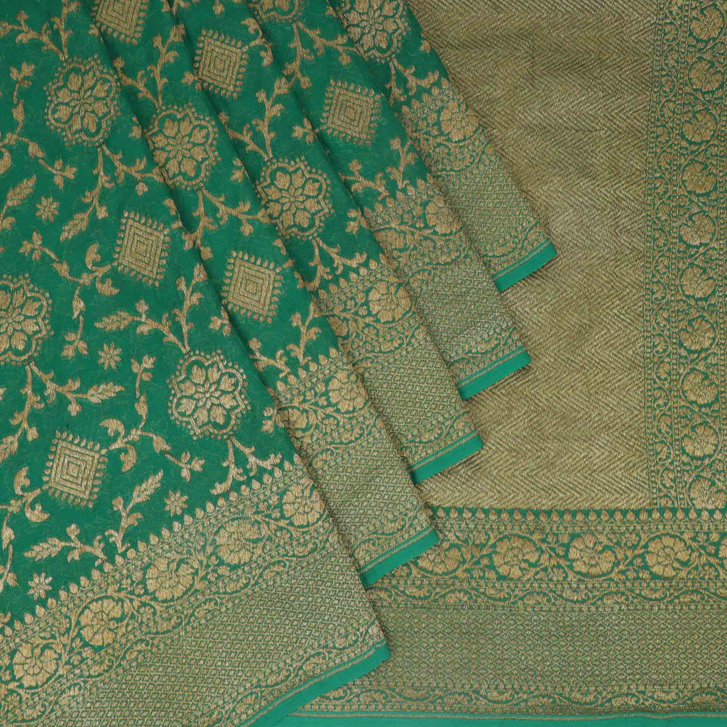 Deep Grass Green Banarasi Georgette Saree With Floral Jaal | Singhania's