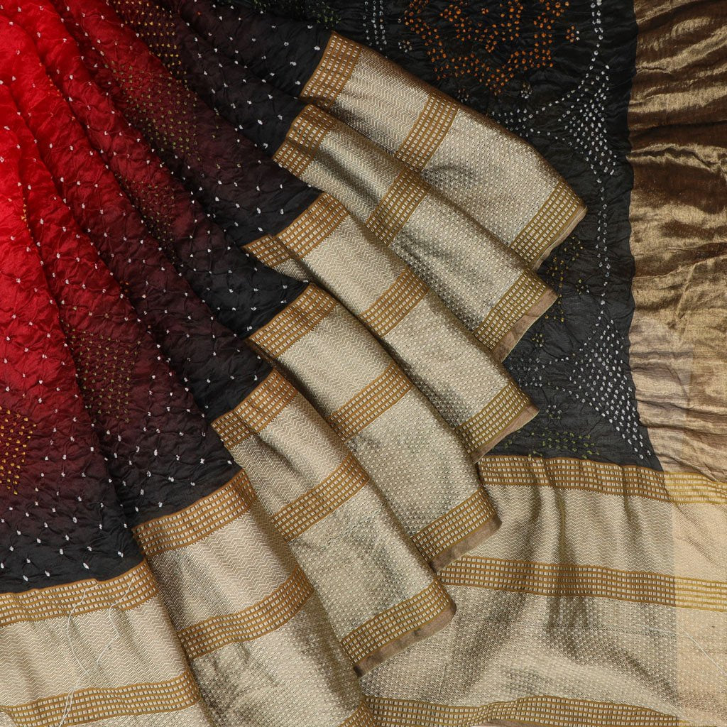 Ruby Red And Pine Green Bandhani Silk Handloom Saree