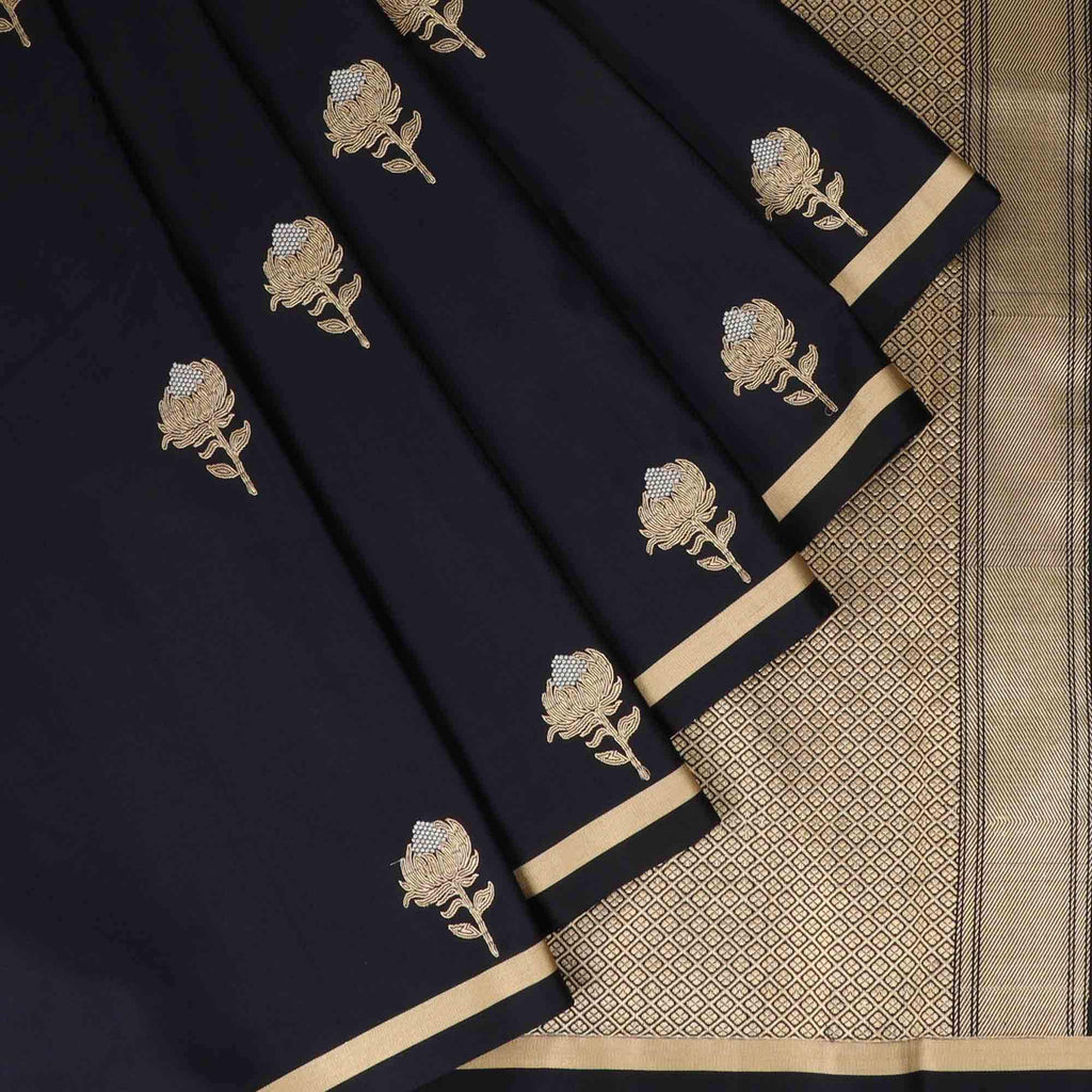 Black Banarasi SIlk Handloom Saree With Floral Motifs