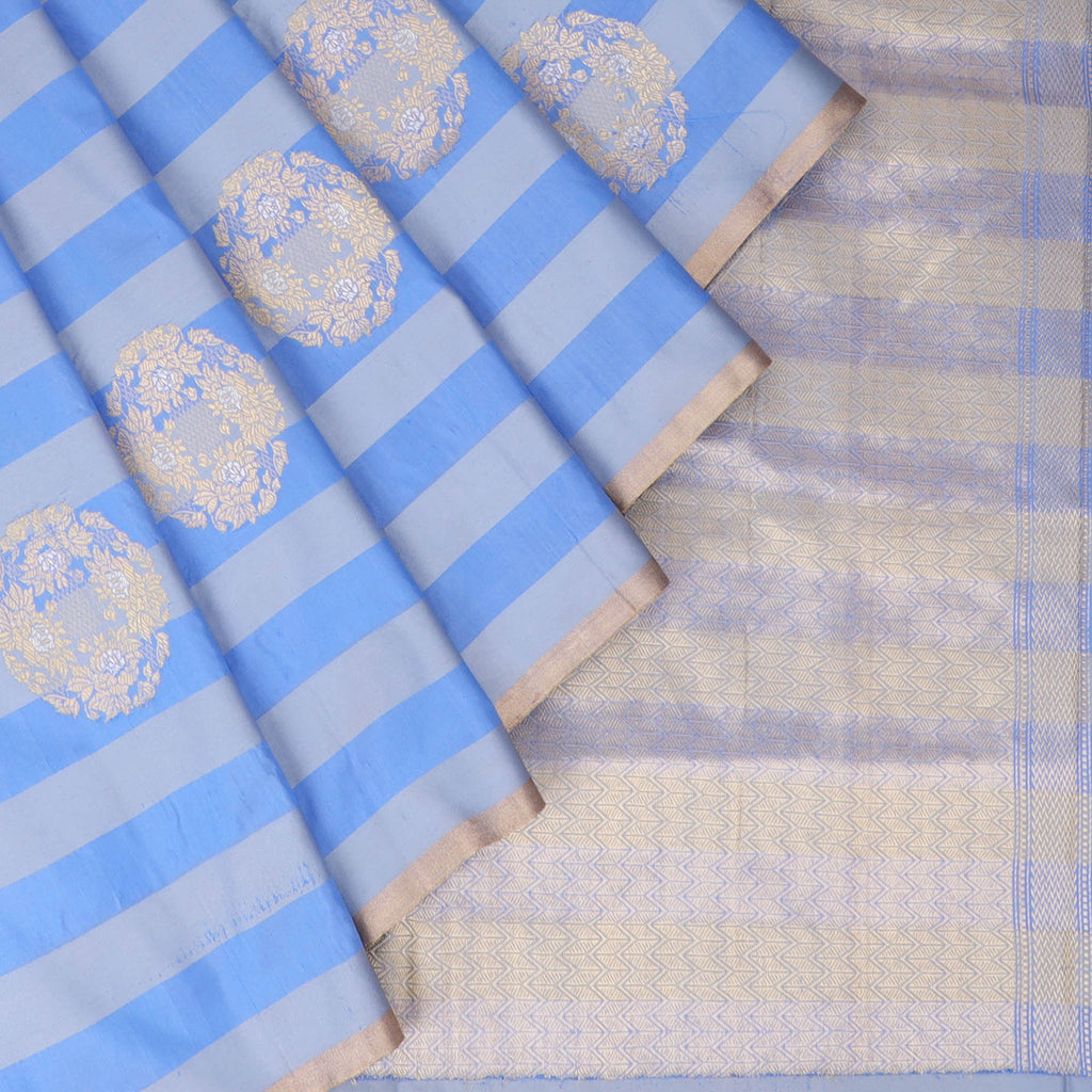 Shades Of Blue Banarasi Silk Handloom Saree With Stripes