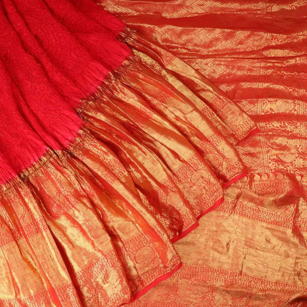 Cherry Red Bandhani Kanjivaram Silk Handloom Saree
