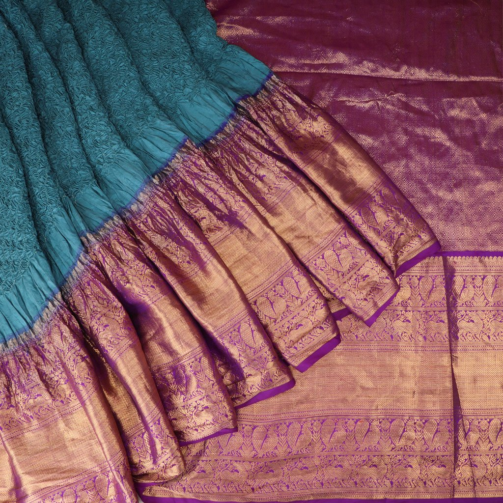 Soft Teal Blue Bandhani Kanjivaram Silk Handloom Saree
