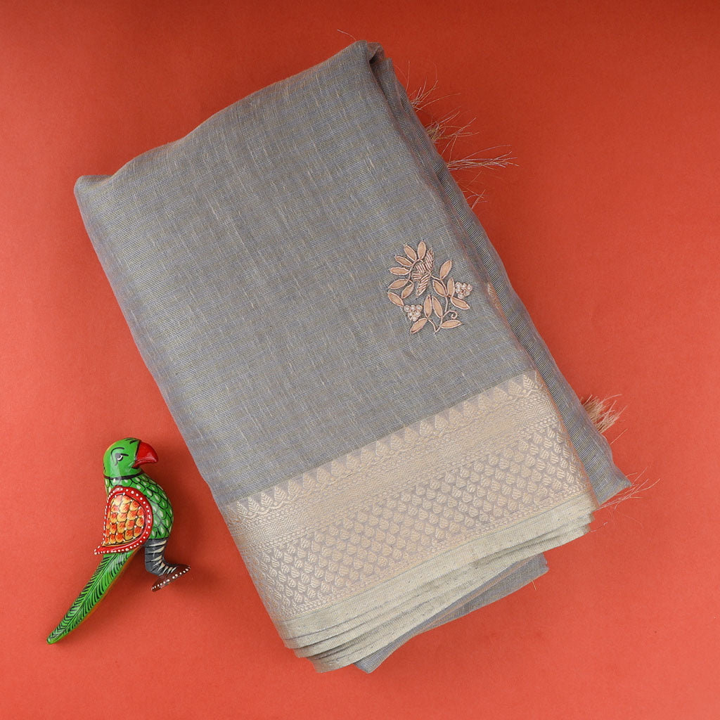 Grey Tissue Linene Embroidery Saree With Gotta Patti
