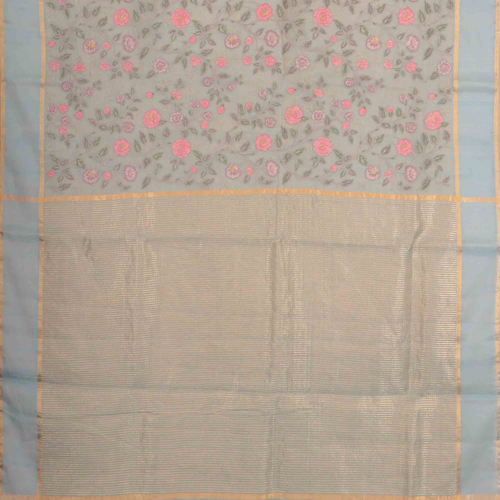 Ice Blue Tissue Organza Floral Embroidery Saree