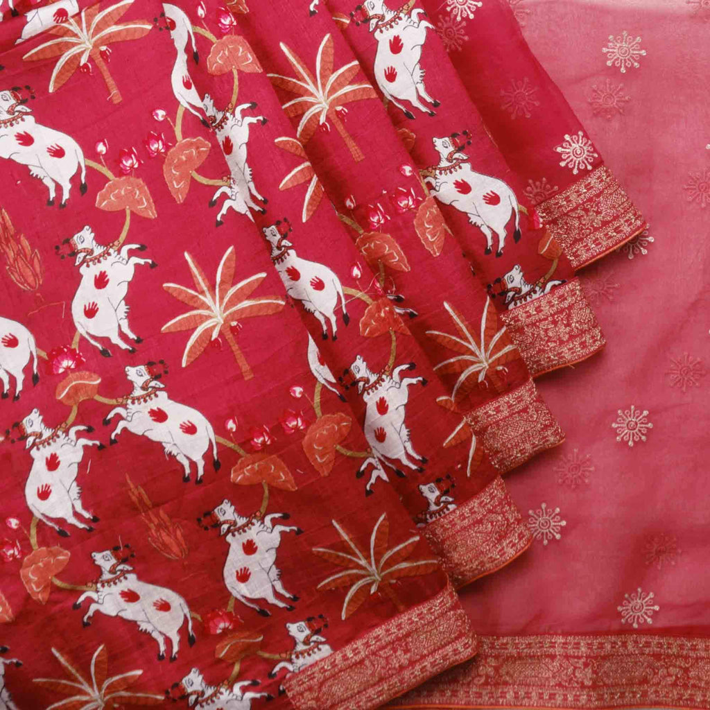 Berry Red Organza Tussar Designer Saree With Pichwai Print