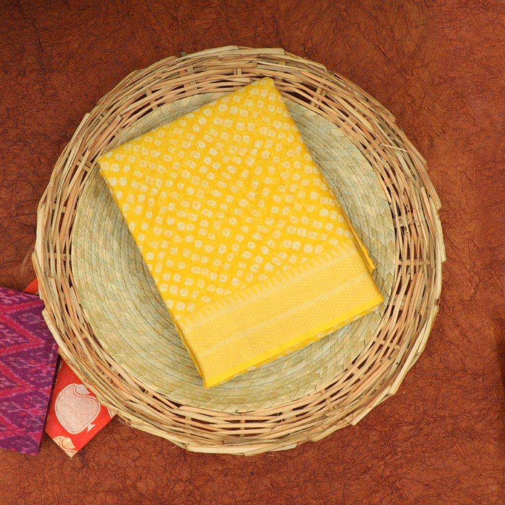 Sunshine Yellow Bandhani Printed Chanderi Handloom Saree