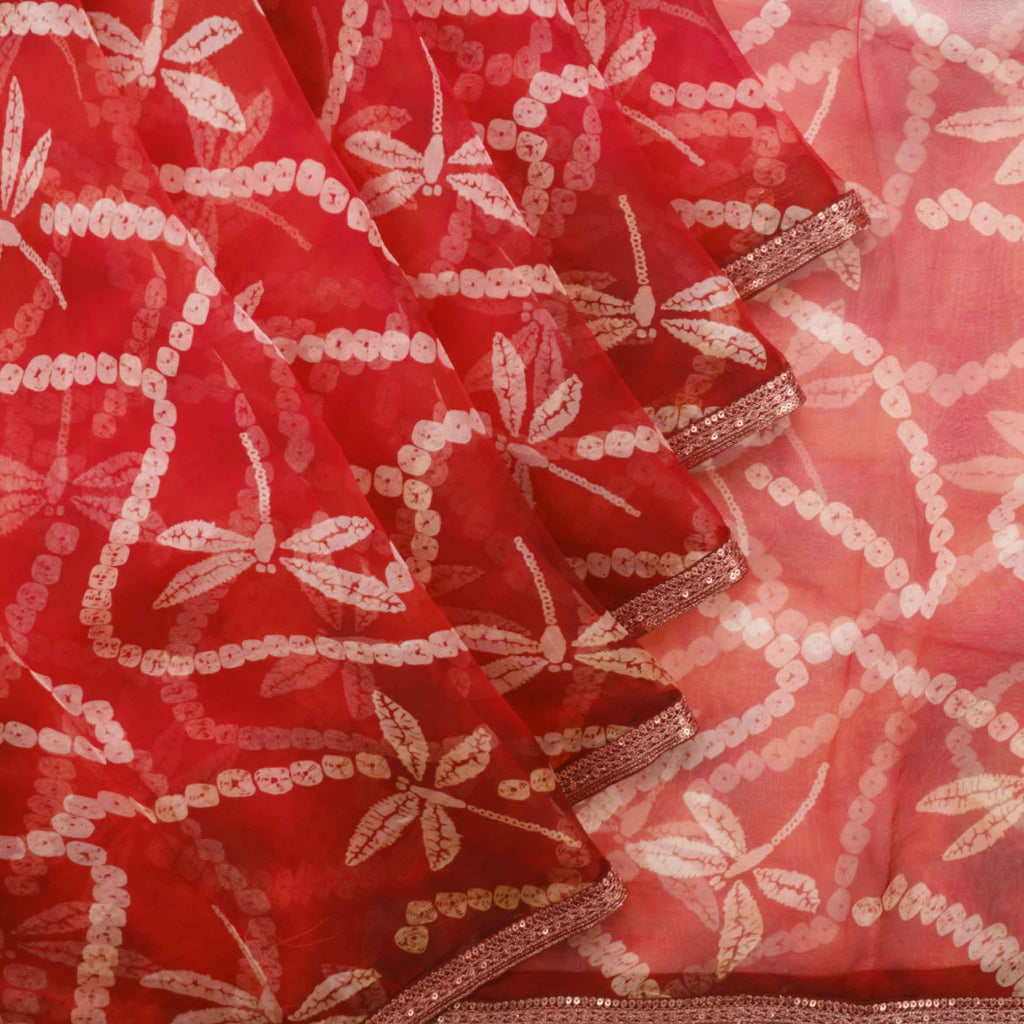 Shades Of Red Bandhani Printed Organza Saree