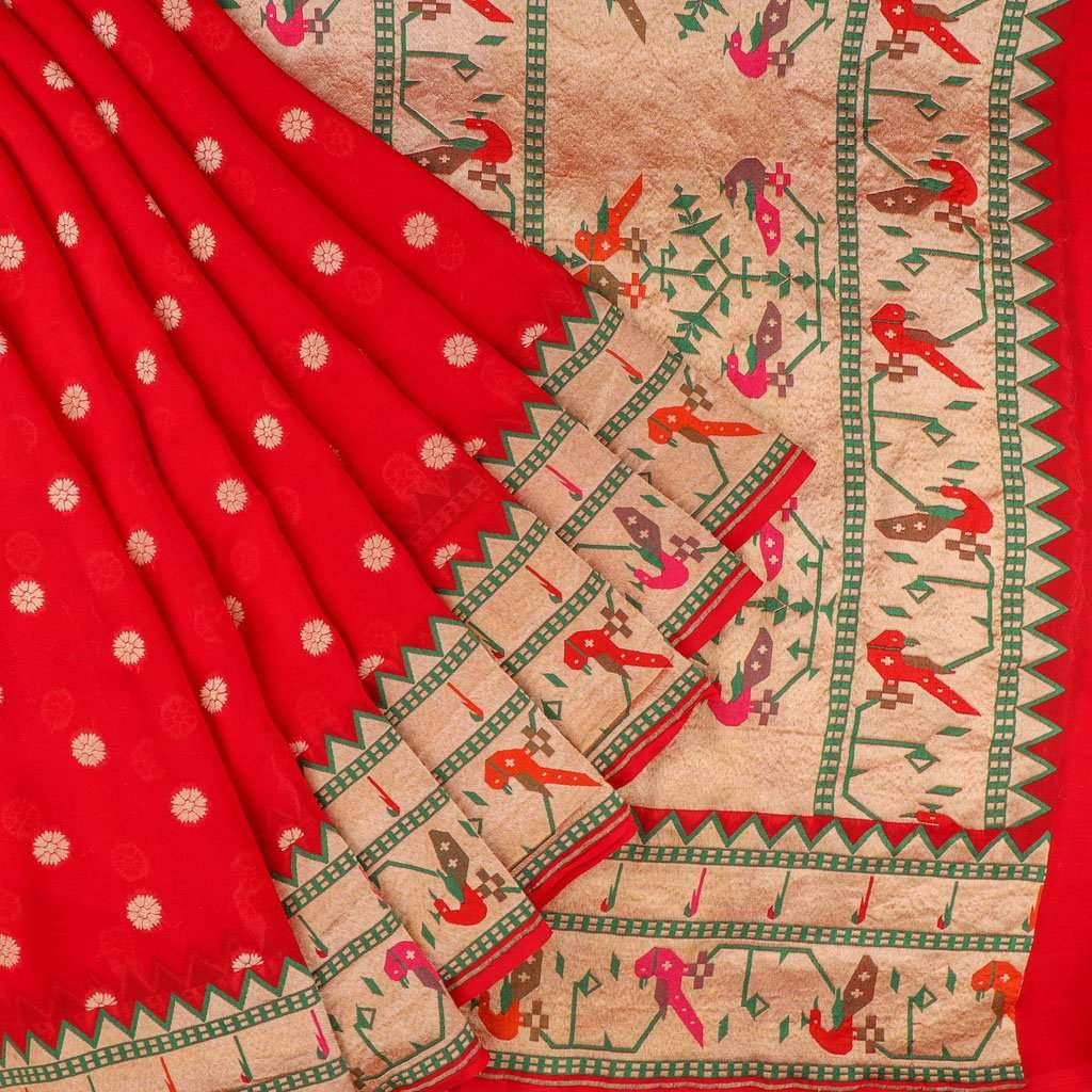 Cherry Red Banarasi Georgette Saree With Floral Buttas
