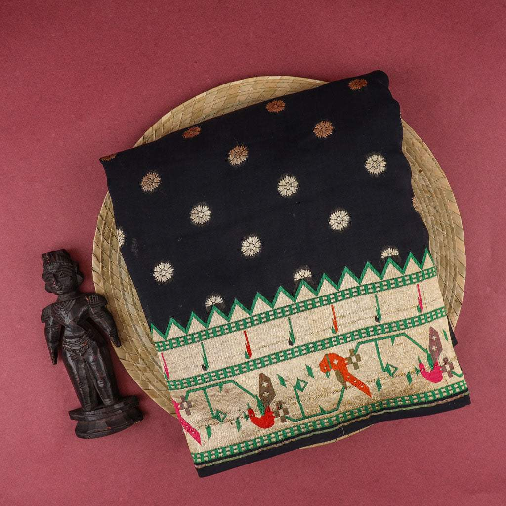 Black Banarasi Georgette Saree With Floral Buttas