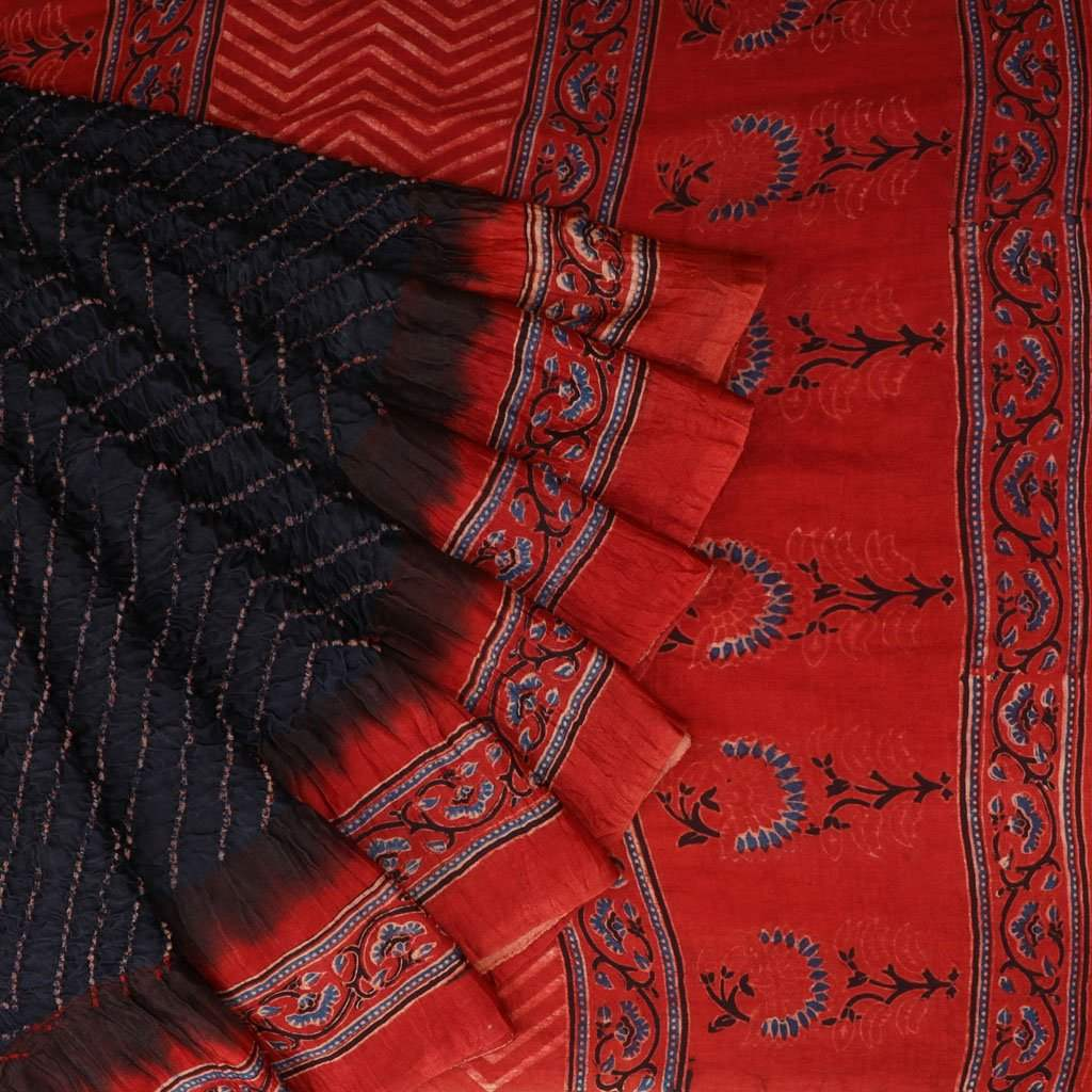 Black Bandhani Ajrakh Silk Handloom Saree