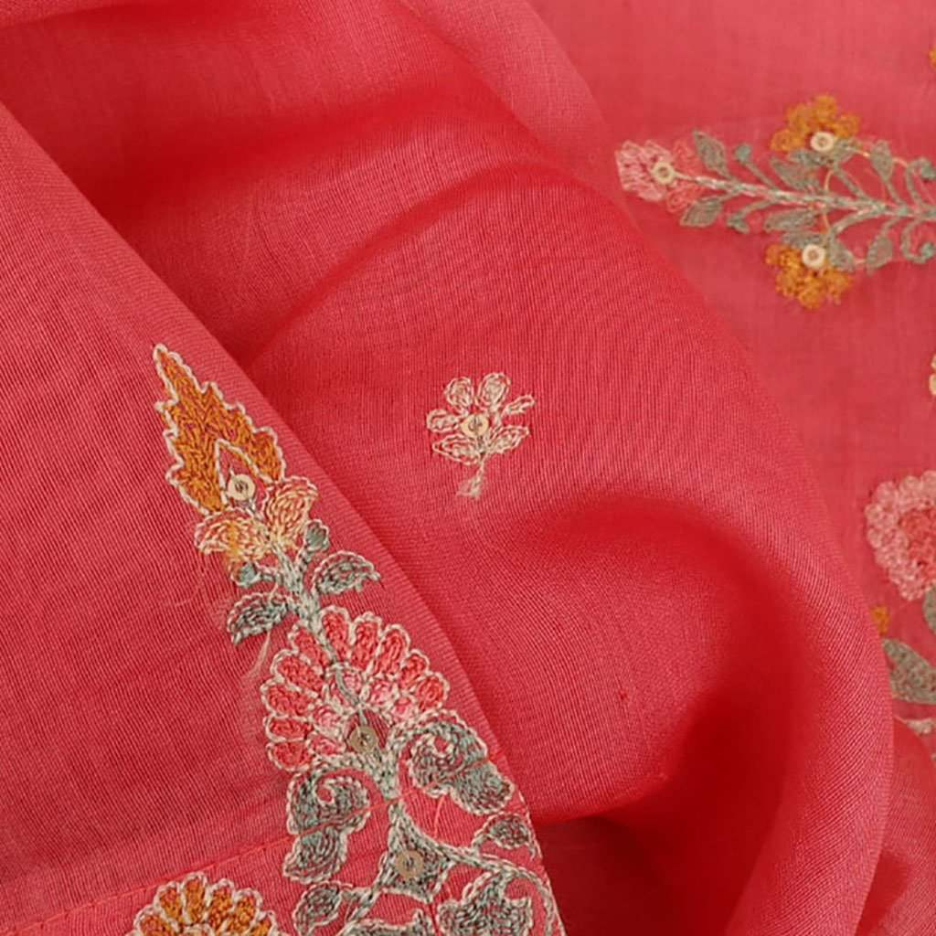 Bubblegum Pink Chanderi Floral Embroidery Saree