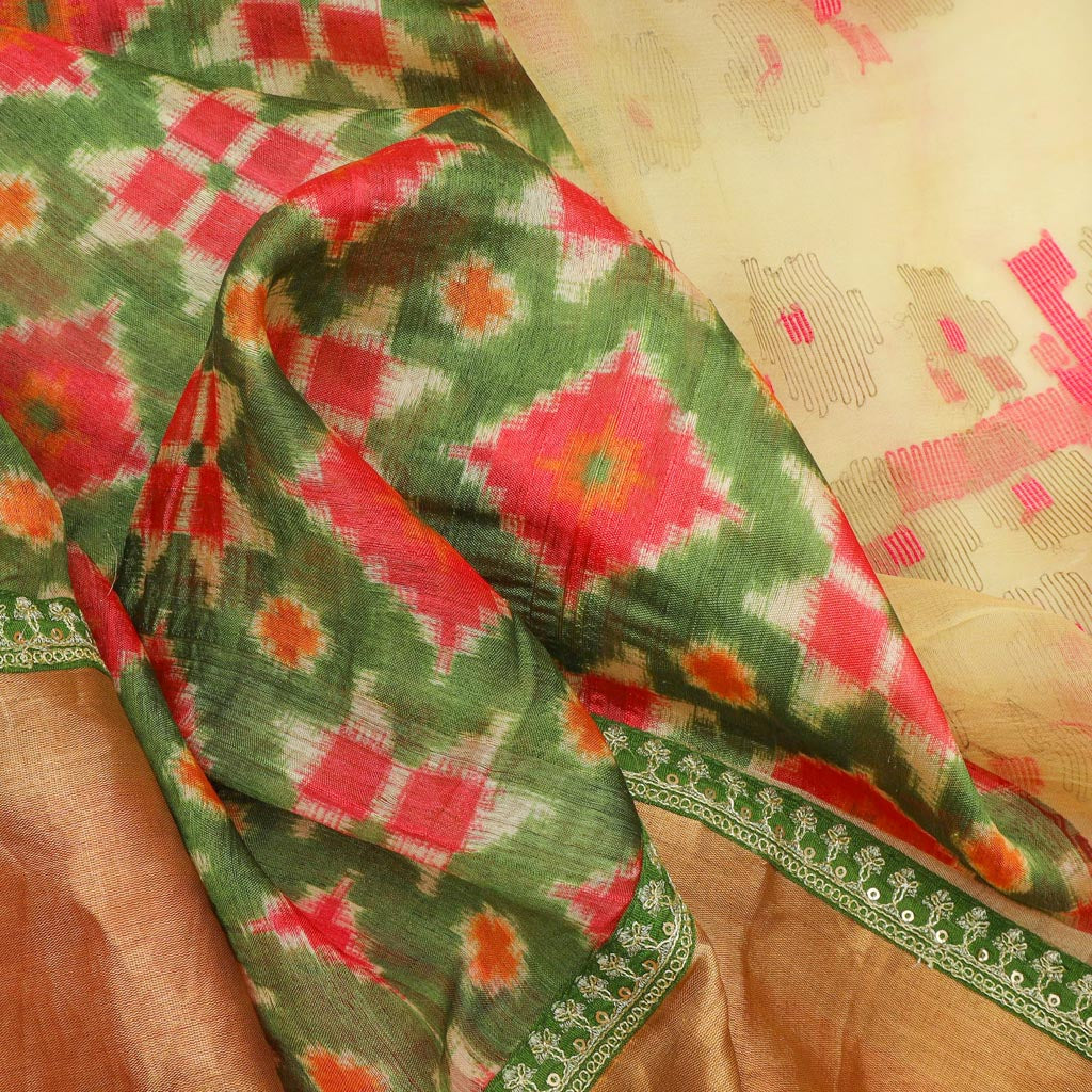 Deep Pear Green Patola Print Tussar Silk Handloom Saree