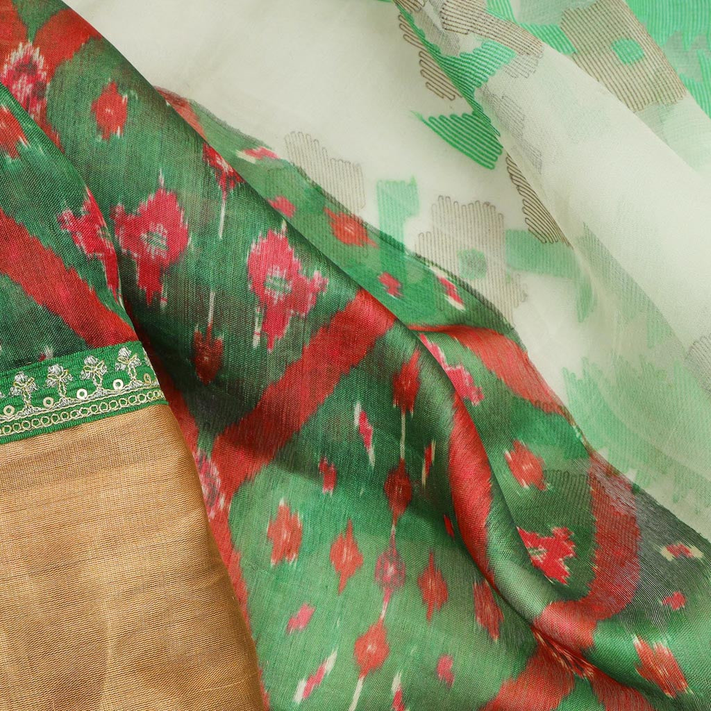 Leaf Green Patola Print Tussar Silk Handloom Saree