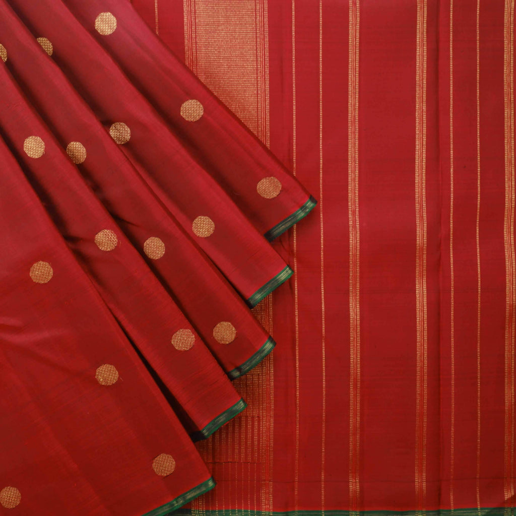 Berry Red - Pine Green Half And Half Kanjivaram Silk Handloom Saree