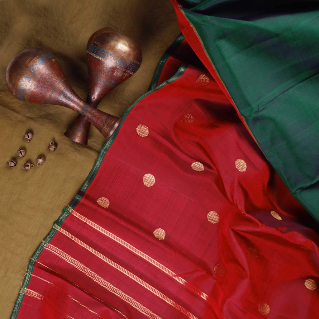 Berry Red-Pine Green Half And Half Kanjivaram Silk Handloom Saree