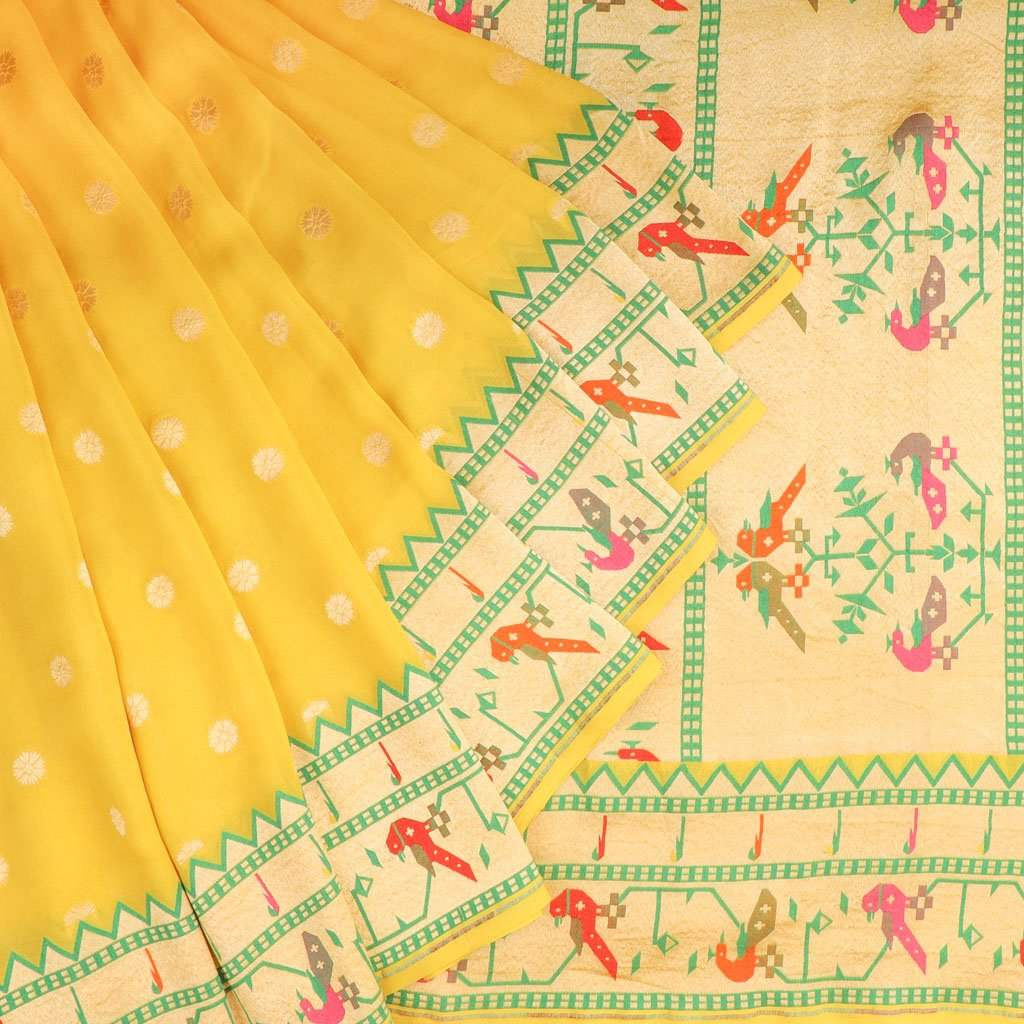 Canary Yellow Banarasi Georgette Saree With Floral Buttas