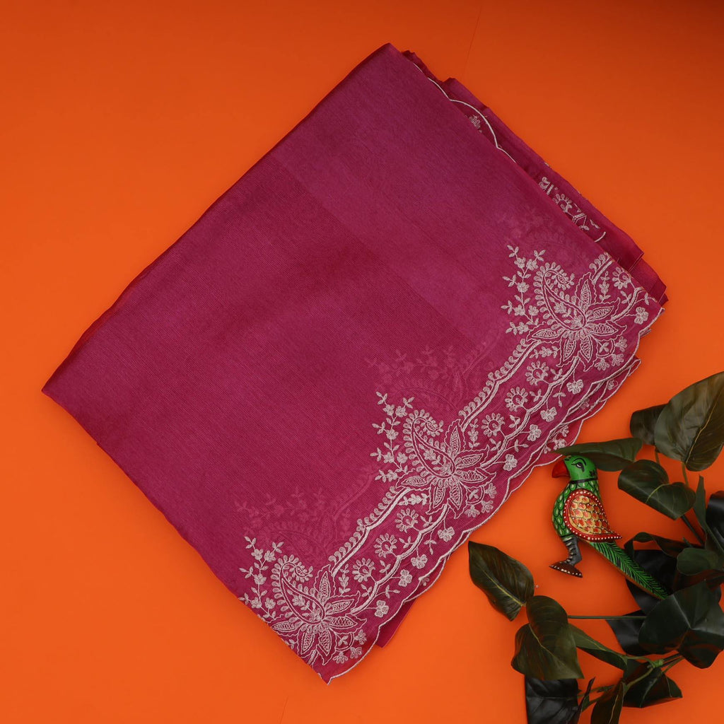 Berry Purple Organza Floral Embroidery Saree-250461 - Singhania's