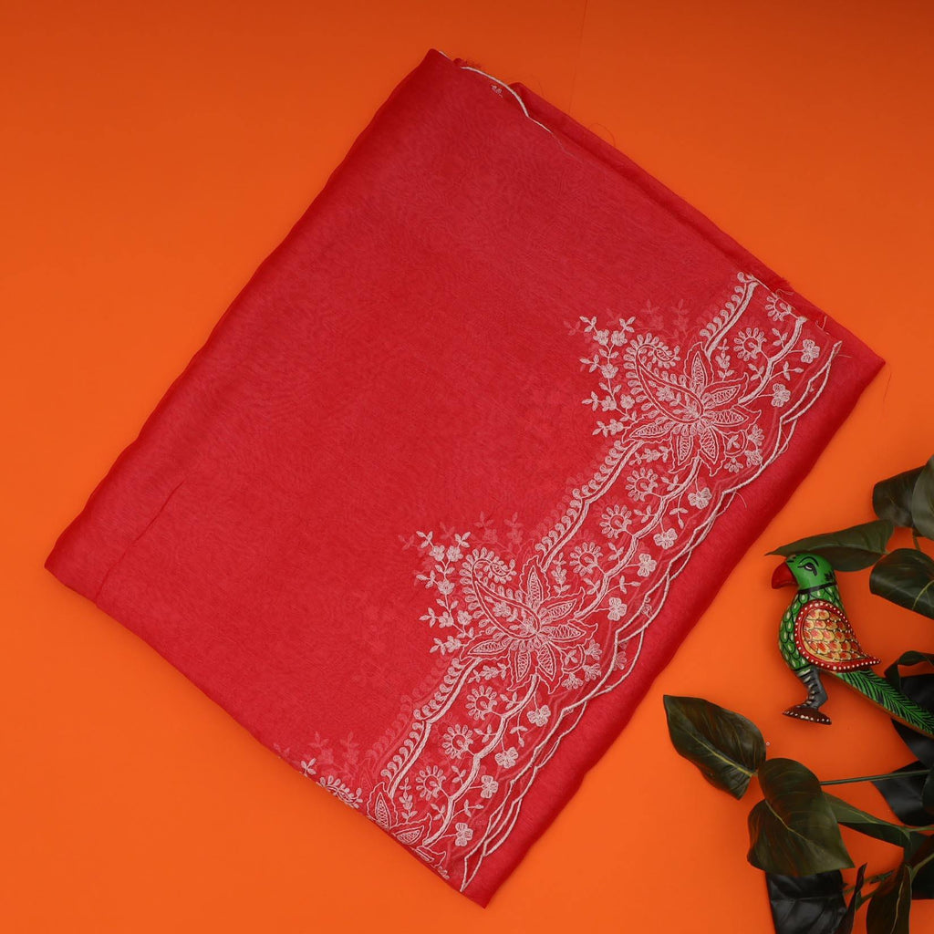 Tomato Red Organza Floral Embroidery Saree-250471 - Singhania's