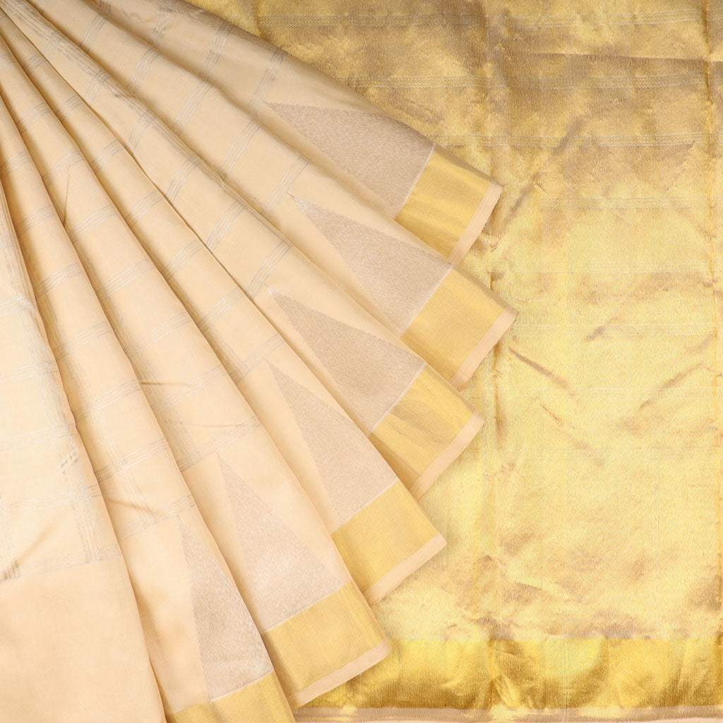 Cream Kanjivaram Silk Handloom Saree With Checks