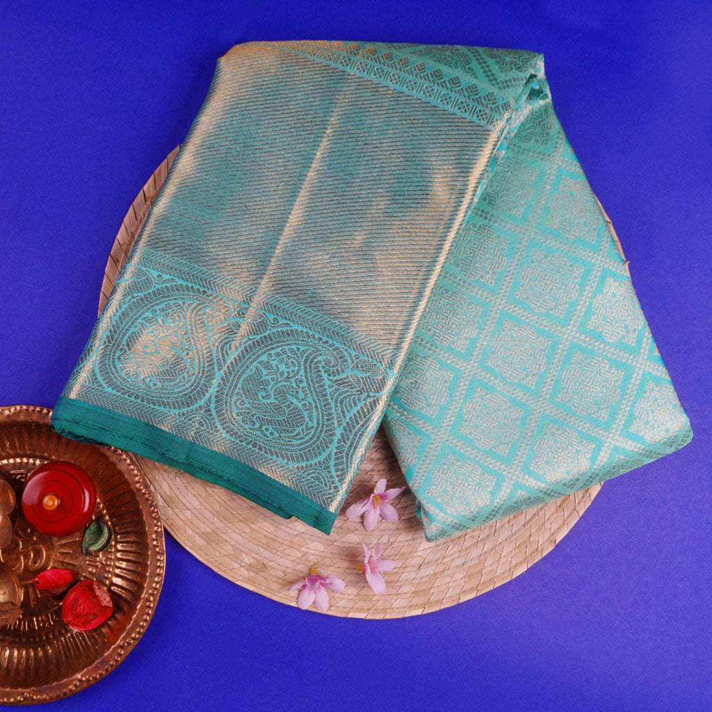 Cyan Blue Kanjivaram Silk Handloom Saree With Jaal Design